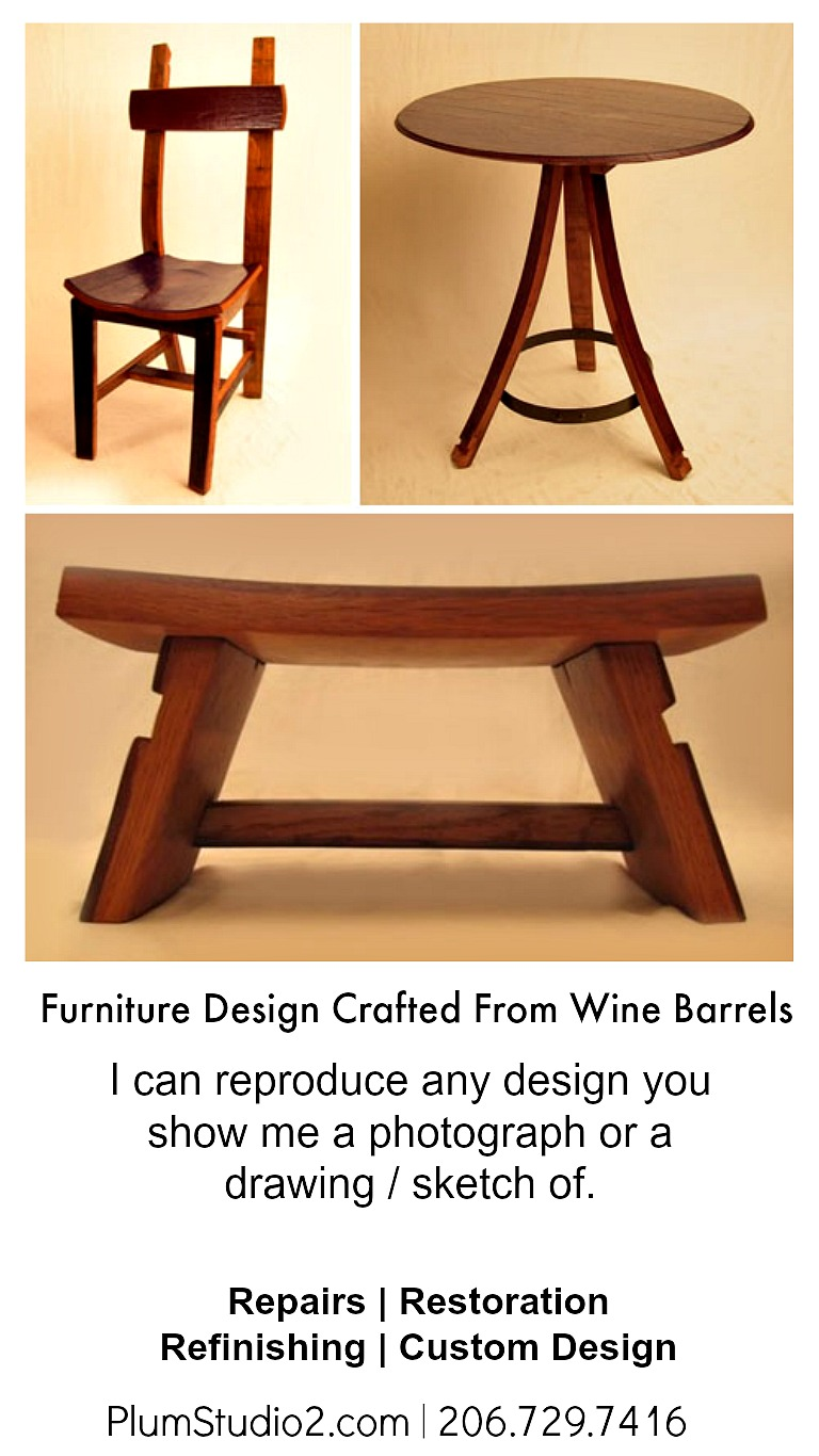Furniture Design Wine Barrels Reclaimed Plum Studio2 Seattle Wa